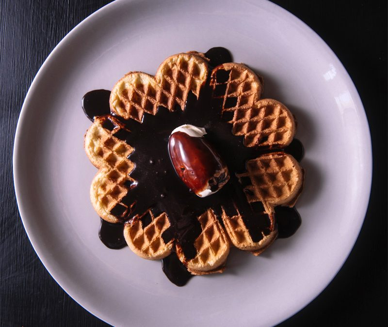 Waffles with Island Berries Chocolate Sauce